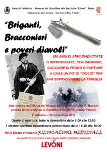 """Dal 1° ottobre al 30 novembre il museo delle armi antiche F. Baboni di Castellucchio ospita la mostra """"Briganti, bracconieri e poveri diavoli""""."""