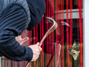 furto di animali: rapinatore con passamontagna e piede di porco cerca di rubare cane dietro finestra