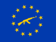 bandiera europea con fucile automatico: nuova direttiva armi
