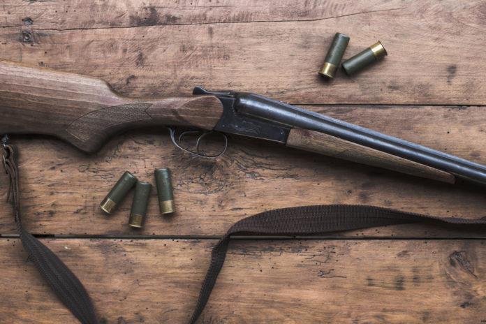 manutenzione fucili da caccia e da tiro fucile con cartucce su tavolo di legno