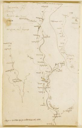 mappa del fiume mella disegnata da leonardo da vinci