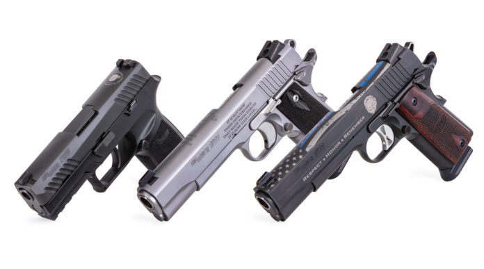 pistola commemorativa sig sauer nleomf, tre pistole insieme