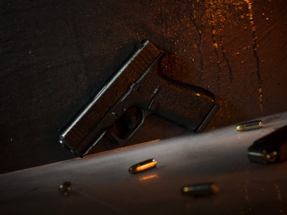 la pistola glock g43x appoggiata su una canna