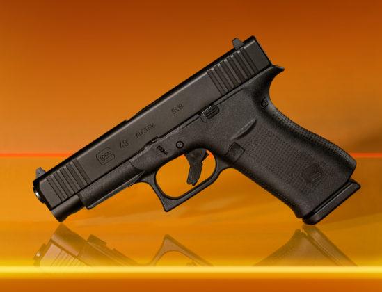 primo piano della pistola g48 nera