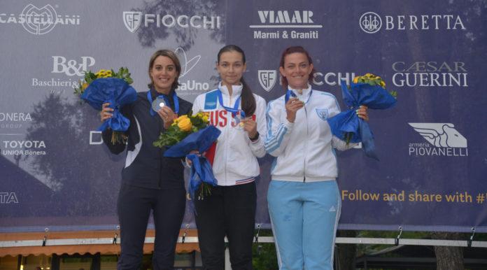 Jessica Rossi conquista la medaglia d'argento nell'Europeo di tiro a volo, specialità trap, di Lonato del Garda