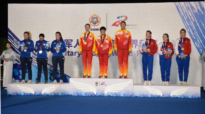 i risultati dei giochi mondiali militari: il podio della gara di trap femminile a squadre