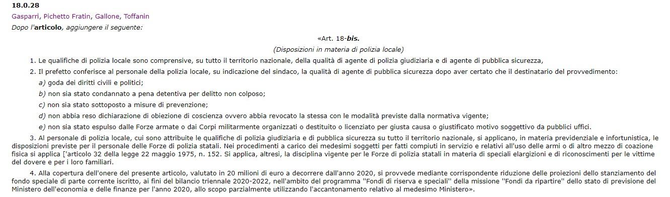 Emendamento 18.0.28 alla legge di bilancio 2020