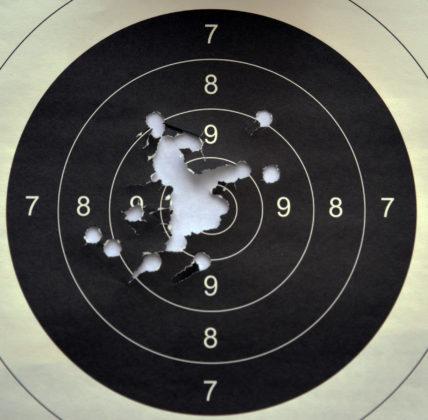 rosata a 100 metri ottenuta col fucile fucile ad avancarica Pedersoli Whitworth