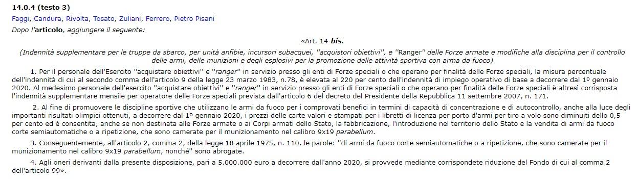 terza versione dell'emendamento 14.0.4 alla legge di bilancio 2020