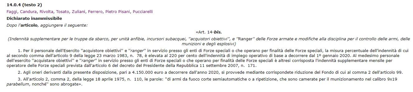 testo dell'emendamento 14.0.4 alla legge di bilancio 2020