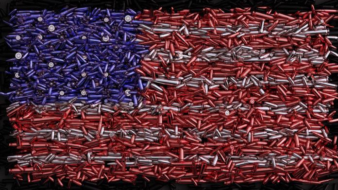 Armi vendute in America: bandiera americana raffigurata con proiettili