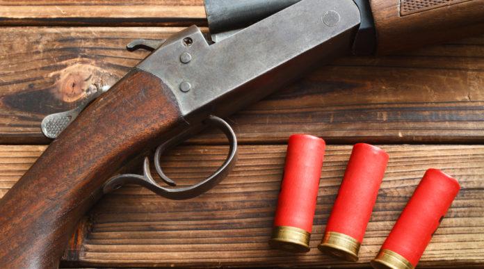 Divieto di munizioni in piombo: fucile con tre munizioni su tavolo di legno