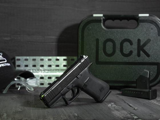 primo piano della pistola glock g43x mos