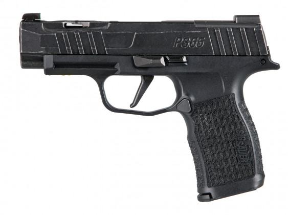 da sinistra, vista classica della della pistola Sig Custom P365XL Spectre