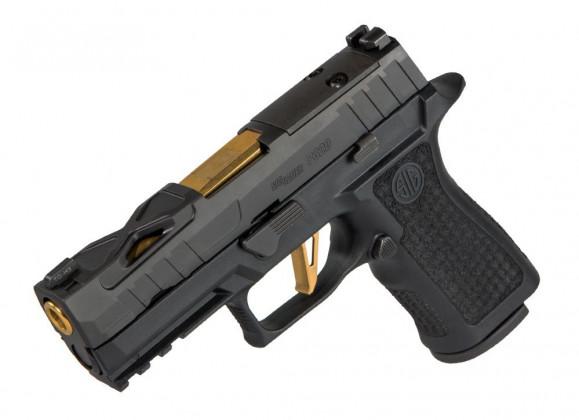 appoggiata sulla canna, la pistola compatta custom Sig Custom Spectre P320 XCarry Series